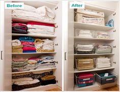 Linen Cupboard make-over. Like the idea of pull-out runner baskets to make drawers & keep sets together