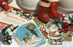 Vintage Christmas Cards. A great flea market find for holiday crafting and decorating.