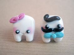 Handmade cute Kawaii Mr and Mrs Tooth stud post by pinkinink, $6.00, this is just too kawaii! (~_~)