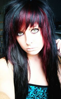 #black & #red #dyed #hair #pretty