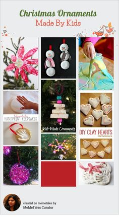 Easy and beautiful Christmas ornaments made by kids.
