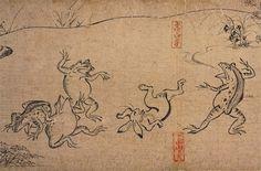 Animals wrestling at a celebration, Part of Chōjū-jinbutsu-giga (12th - 13th Century)