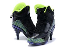 Not sure if these are the real deal, but they're cool... Nike Air Jordan Spizike High Heels Boots Black Green