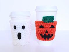 Halloween coffee cozy set Ghost and pumpkin by MsAmandaJayne, $25.00
