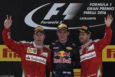 Verstappen finished ahead of both Ferraris of Kmi Raikkonen (left) and Vettel to claim Red...