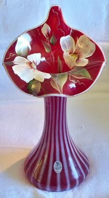 Very RARE Beautiful Fenton Ruby Red Opalescent JIP Jack in The Pulpit Tulip Vase   eBay Wow