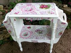 Shabby Cottage Rose China Mosaic Tile Magazine Table eclectic side tables and accent tables
