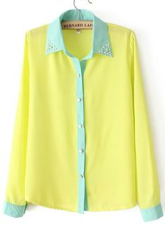 Yellow Bead Lapel Long Sleeve Contrast Trims Blouse - Sheinside.com