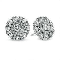 1-1/2 CT. T.W. Diamond Cluster Stud Earrings in 18K White Gold (G-H/VS2-SI1)