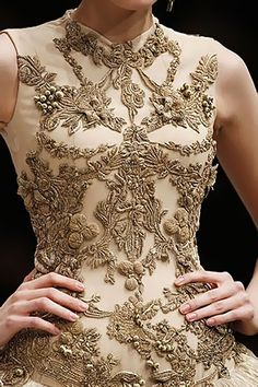 Ecru, #AlexanderMcQueen Classical Architecture as fashion.  Embroidered details mimic architectural details.  Stunning dress.