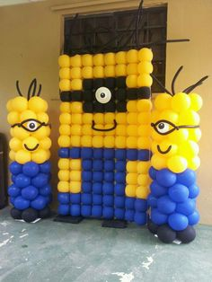 Minion Birthday Party Background Decors/ Stage Decorations/ Banners/ Letterings/ Door and Entrance decors, wreath, Minion Balloons Despicable Me Party, Minion Party, Minion Theme, Minion Balloons, Minion Birthday, Balloon Wall, Balloon Ceiling, Balloon Party, Balloon Columns