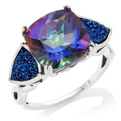 """Orvieto Silver Odyssey Universe Blue Quartz and Drusy """"Trilogy"""" Ring at HSN.com"""