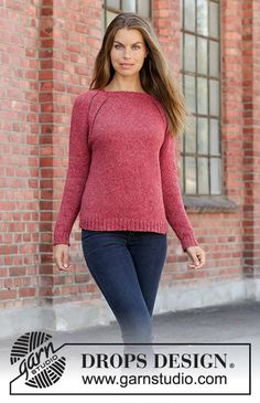 Red sky / DROPS - free knitting patterns by DROPS design Knitted sweater with raglan in DROPS Sky. The piece is worked top down. Sizes S - XXXL. History of Knitting Yarn spinnin. Knitted Mittens Pattern, Sweater Knitting Patterns, Knit Patterns, Free Knitting, Knitting Yarn, Drops Design, Raglan Pullover, Work Tops, Top Pattern