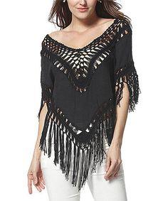 Love this Black Crochet Boatneck Top on #zulily! #zulilyfinds