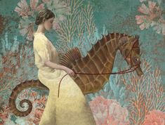 """Nonchalant - Daria Petrilli """"Walk on the sea horse"""" My Other Half, Surrealism Painting, Walk On, Whimsical, Illustration Art, Butterfly, Horses, Image, Paintings"""