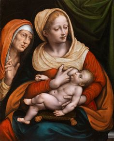 Giovan Pietro Rizzoli, called Giampietrino (c 1485–Milan-1553). The Madonna and Child with St. Anne.