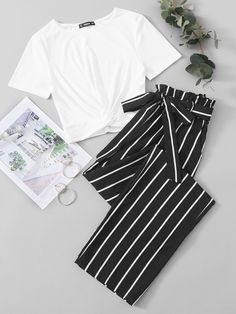 Crop Top Outfits, Edgy Outfits, Cute Casual Outfits, Pretty Outfits, Girls Fashion Clothes, Teen Fashion Outfits, Fashion Mumblr, Celebrity Style Casual, Stylish Dress Designs