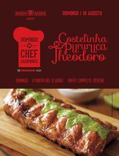 No dia 19/08, domingo do Chef com Guilherme Theodoro e Costelinha a Pururuca.
