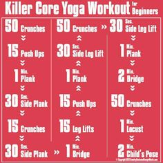 Killer core yoga workout for beginners.