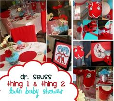 Dr. Seuss baby shower - for twins or just plan good idea (guests bring a Seuss book for baby or other book).