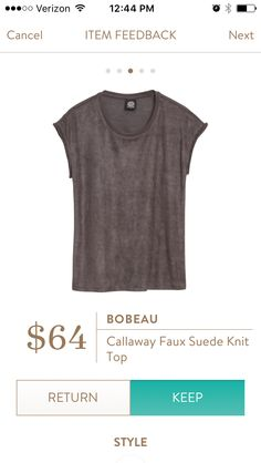12th fix! Bobeau Callaway Faux Sueded Knit Top. Loved the color, the faux suede, and the knit material. A great staple piece. KEPT.