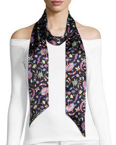 Astrid Skinny Floral Silk Twill Scarf