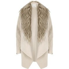 Faux suede fabric Detachable faux fur trims Fallaway collar Long faux leather and ribbed sleeve with zip cuff Front zip pockets Open front Our model wears a UK… River Island Coats, Long Pink Coat, Cream Coat, Faux Suede Fabric, Winter Coats Women, Fur Trim, Trendy Outfits, Trendy Clothing, Jackets For Women