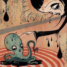 Camille-Rose-Garcia from The Magic Bottle Art And Illustration, Halloween Illustration, Camille Rose Garcia, Magic Bottles, Octopus Art, Lowbrow Art, Pop Surrealism, Dark Art, Artsy Fartsy