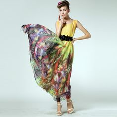 New 2014 women's yellow elegant print vest long beach dress designer sexy causal maxi dress M L Free shipping $34.13