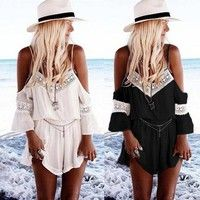 Material:Chiffon Color:white;black (as the photo) Quantity: 1 pcs jumpsuit Application: casual/beac