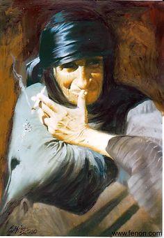 Iraqi artist Saheb Khodr Al Sadoon's very famous painting of an old woman smoking & looking worried