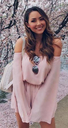 #summer #outfits  Pink Off The Shoulder Romper + White Leather Backpack
