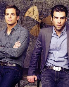 Chris Pine and Zachary Quinto. OMG I LOVE THEM BOTH! Especially Zachary…I fell in love when he played Sylar on Heroes!!!!