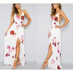 Deep V Neck White Floral Off Shoulder Maxi Dress Maxi Dress With Slit, Mini Dress With Sleeves, Striped Maxi Dresses, Tropical Dress, Patchwork Dress, Spaghetti Strap Dresses, Sexy Dresses, Deep, Ankle Length