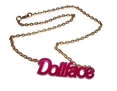 Dollface Necklace Hot Pink Laser Acrylic by KitschBitchJewellery, $11.99