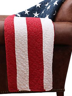 96e8d63ff307 Thro By Marlo Lorenz - American Flag Quilted Decorative Throw