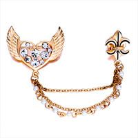 Golden Plated Heart Wings With April Birthstone Clear Crystal Brooches And...