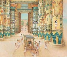 The pharaoh's coffin is led inside the temple.