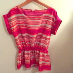 Banana Republic Peplum Blouse Pink, grey, and orange striped silky top with scoop-neck. Perfect, like-new condition. Beautiful addition to your wardrobe! Banana Republic Tops Blouses