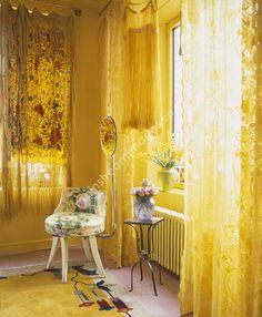 Betsey Johnson's Apartment - yellow interior