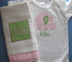 Monogrammed Bodysuit and Burp Cloth Set - Green and Pink Elephant Gift Set for Baby Girl - Embroidered Personalized. $32.00, via Etsy.