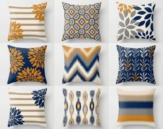 Throw Pillow Cover designs in mix and match prints. Colors are navy, carrot, taupe, beige, sand, and grey. Individually cut and sewn, features a 2 sided print and is finished with a zipper for ease of care. SIZES: 16in. X 16in. 18in. X 18in. 20in. X 20in. 26in. X 26in. (euro) 14in. X 20in. (lumbar) IMPORTANT: These are COVERS ONLY! You can cover your existing pillows or purchase inserts online or at any local craft store. FABRIC: Spun Poly Poplin. Medium weight high quality fabric that is...