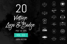 Free for a limited time!  20 Vintage Logo & Badge Vol. 3 by sagesmask on @creativemarket  design, graphic, photoshop, ad, affiliate