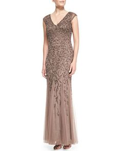 Cap-Sleeve Beaded Gown with Tulle Skirt, Mink by Aidan Mattox at Neiman Marcus.