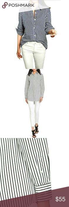 """LAUREN RALPH LAUREN WHITE W/ BLK STRIPE BUTTN DOWN LAUREN RALPH LAUREN WHITE WITH BLACK STRIPE BUTTON DOWN Pre-Loved  /EUC!!/ Image for Similarity  100% Cotton SZ L Crispy, White with Wide Black Stripes with Long Sleeves that can Roll up and Be Secured Paired with AEO White Skinny Jeans in Another Listing  Approx Meas;    *   Armpit to Armpit   20""""    *   Back Neckline to Hem L.   26""""18"""" Lauren Ralph Lauren Tops Button Down Shirts"""