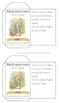 Printable Seed Packets Peter Rabbit's Garden