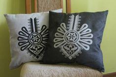 Poszewka z motywem regionalnym, góralska parzenica - Satina-Folk - Poszewki Babushka Lady, Word Tattoos, Embroidery Applique, Really Cool Stuff, Throw Pillows, Ornaments, Nice Things, Folklore, Poland