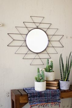 Bring The Southwest To Your Home With This Raw Metal Mirror Its Geometric Pattern Provides