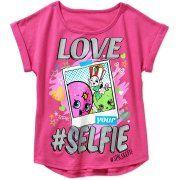 Shopkins Girls' Love Selfie Short Sleeve Crew Neck Graphic Tee