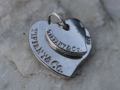 Vintage Tiffany and Co. 925 Sterling Silver Double heart